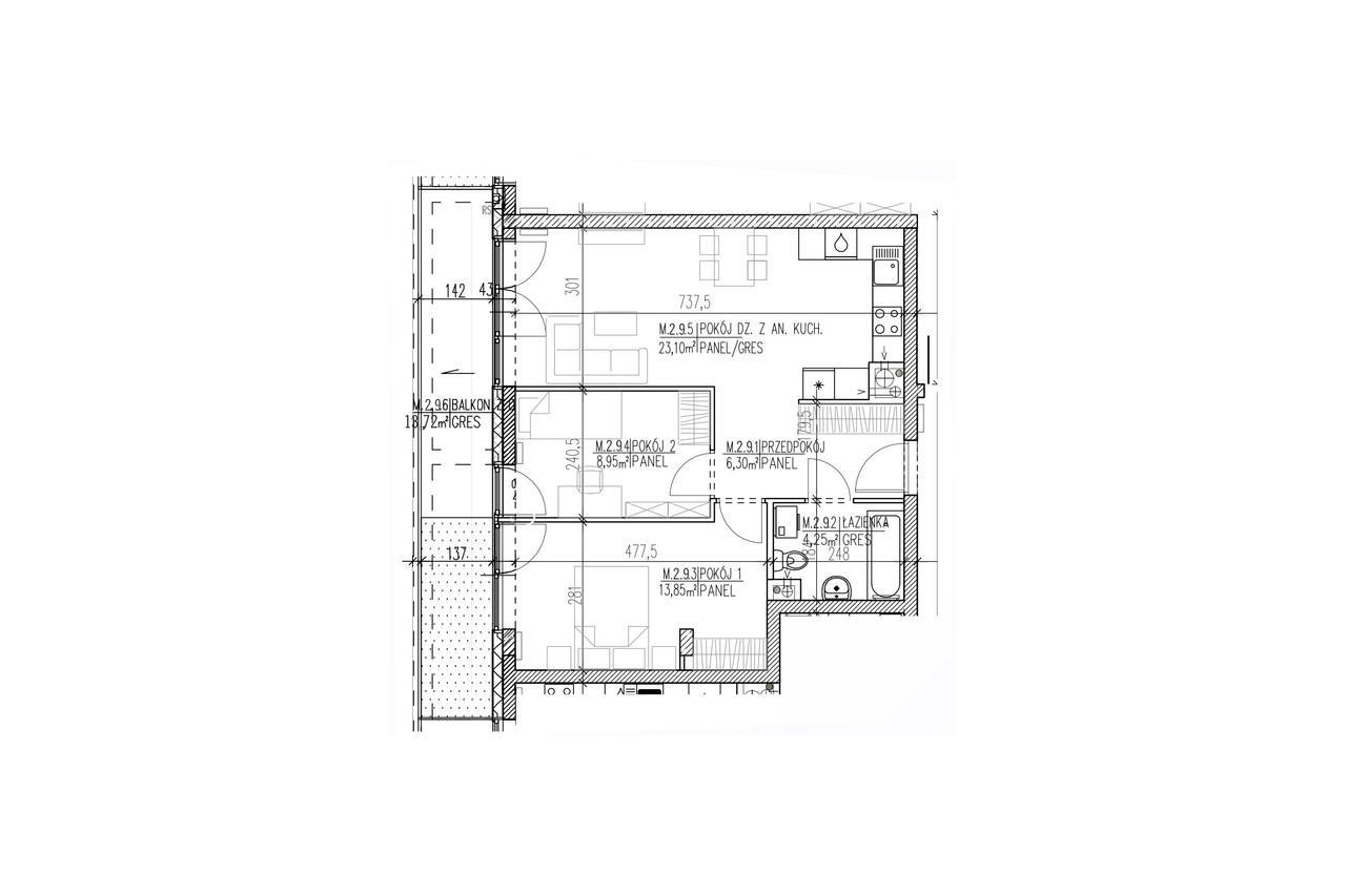 Mieszkanie B9 19 na pierwszym piętrze