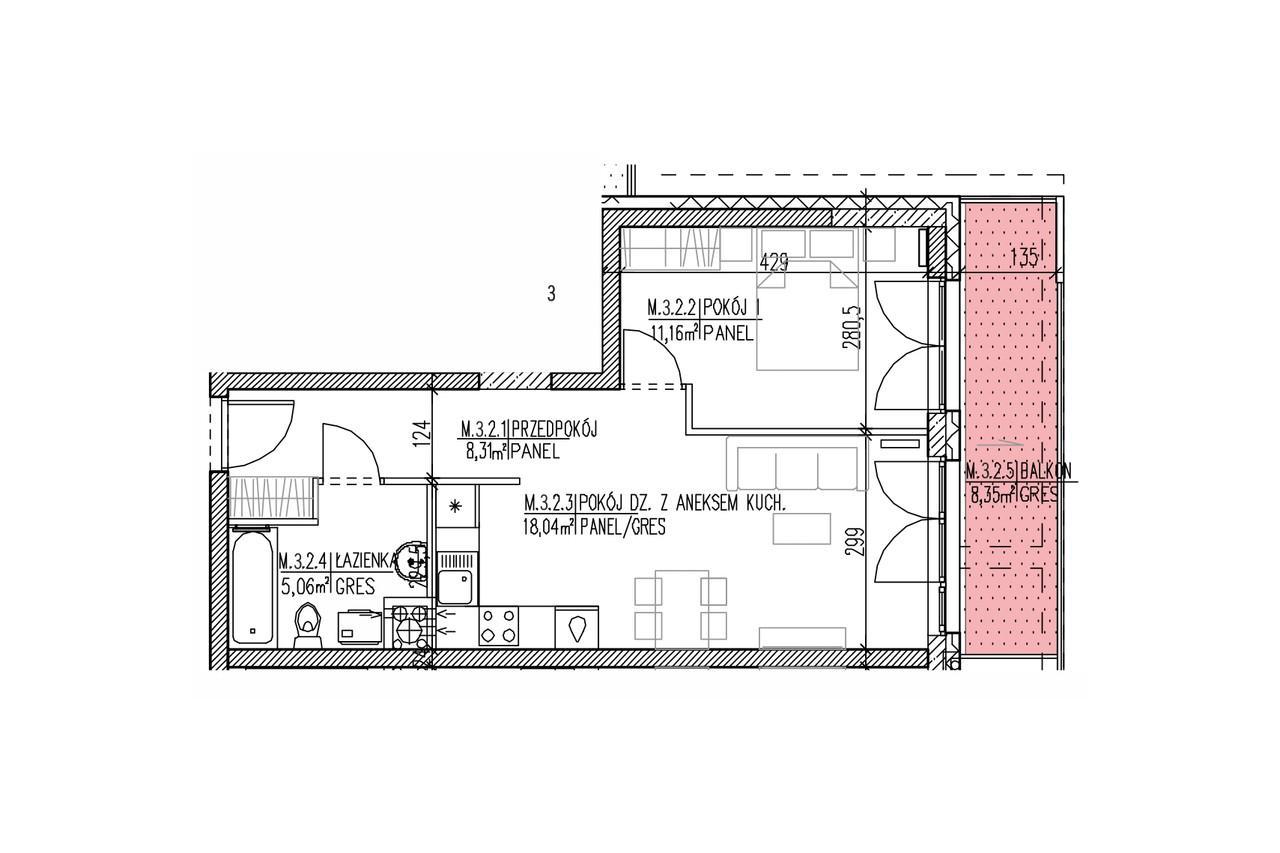 Mieszkanie B9 23 na drugim piętrze