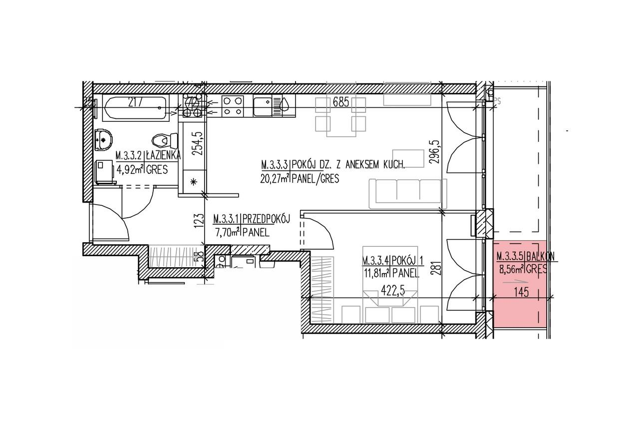 Mieszkanie B9 24 na drugim piętrze