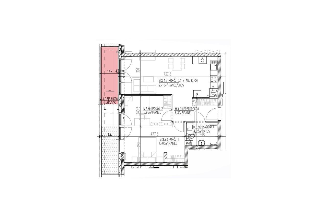Mieszkanie B9 30 na drugim piętrze