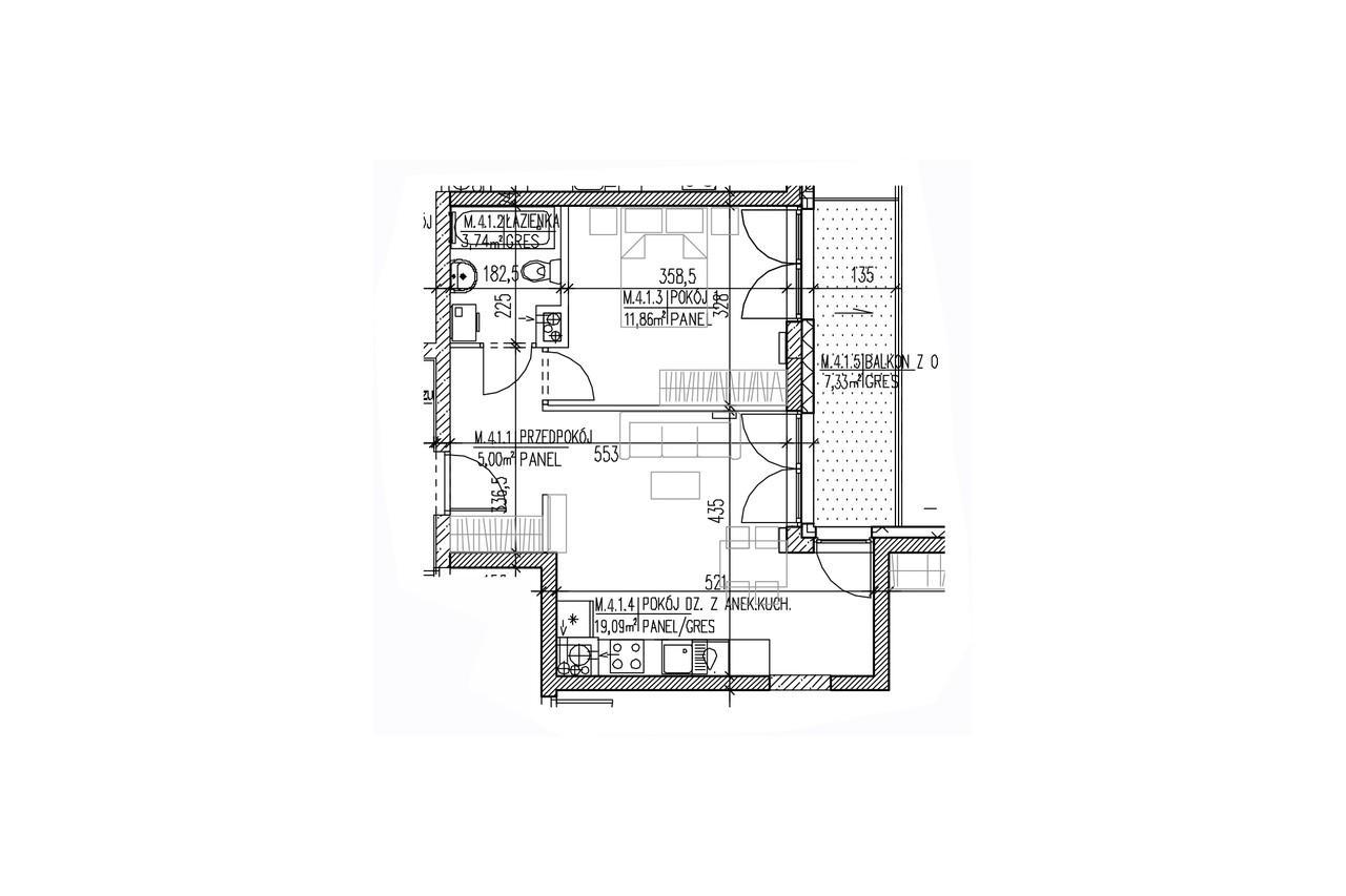 Mieszkanie B9 33 na trzecim piętrze