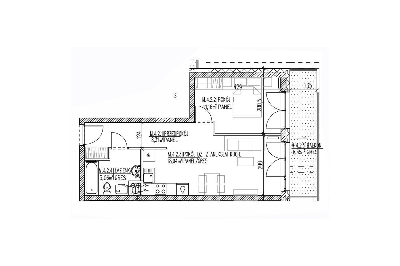 Mieszkanie B9 34 na trzecim piętrze