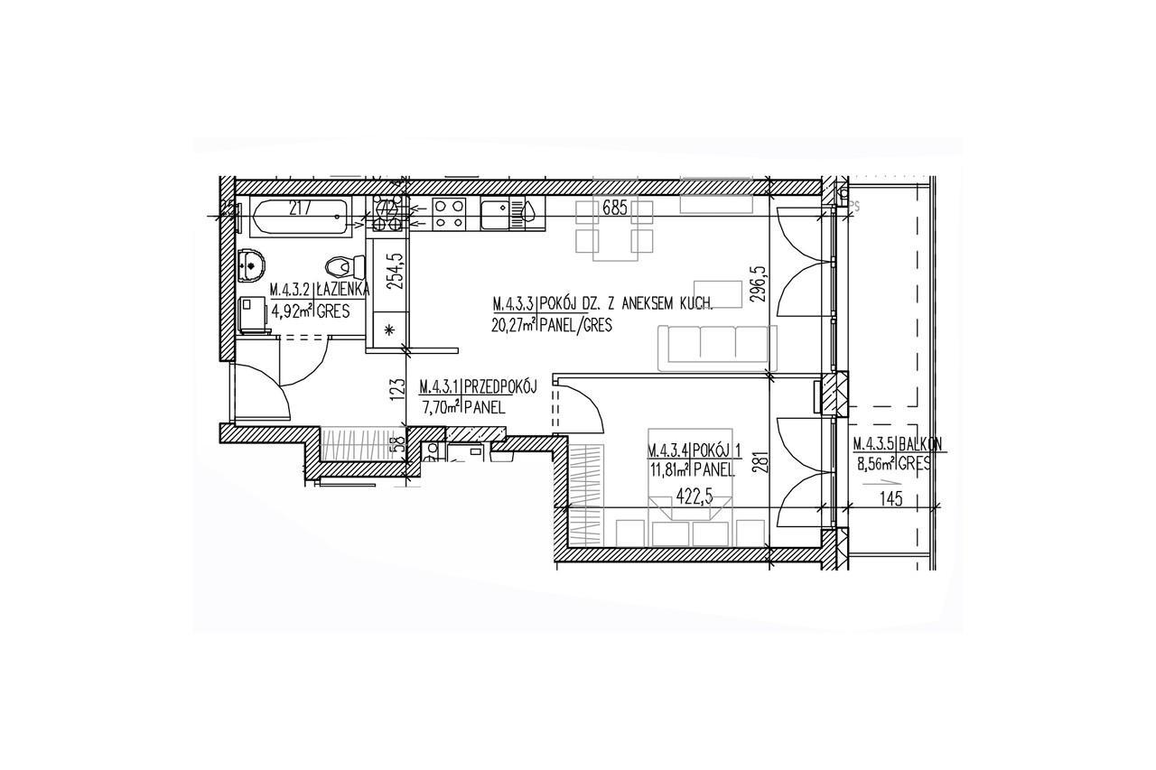 Mieszkanie B9 35 na trzecim piętrze