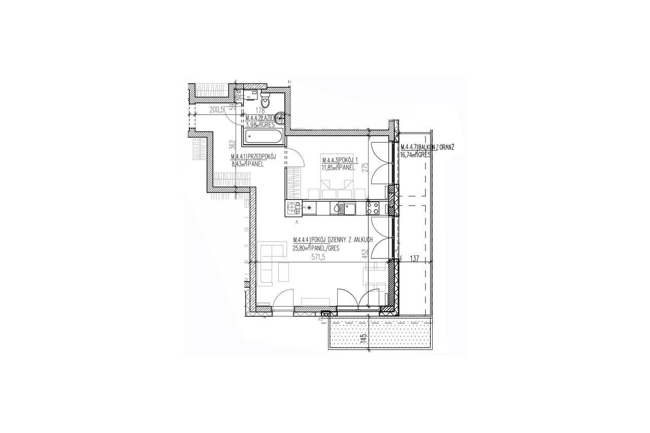 Mieszkanie B9 36 na trzecim piętrze