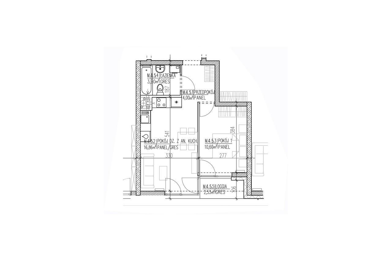 Mieszkanie B9 37 na trzecim piętrze