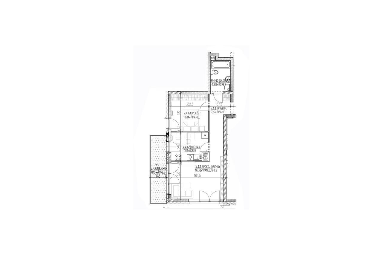 Mieszkanie B9 38 na trzecim piętrze