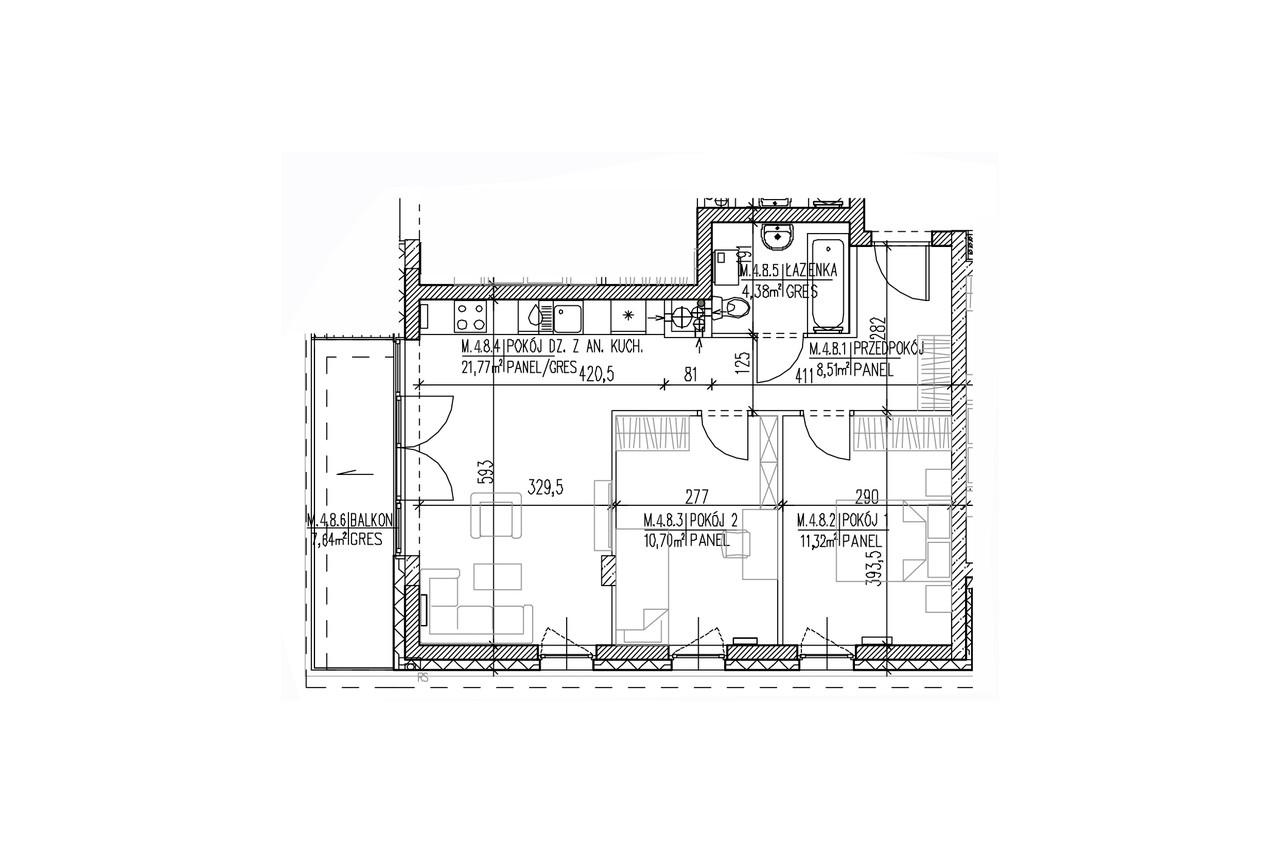 Plan mieszkaaMieszkanie B9 40 na trzecim piętrzenia B8 40