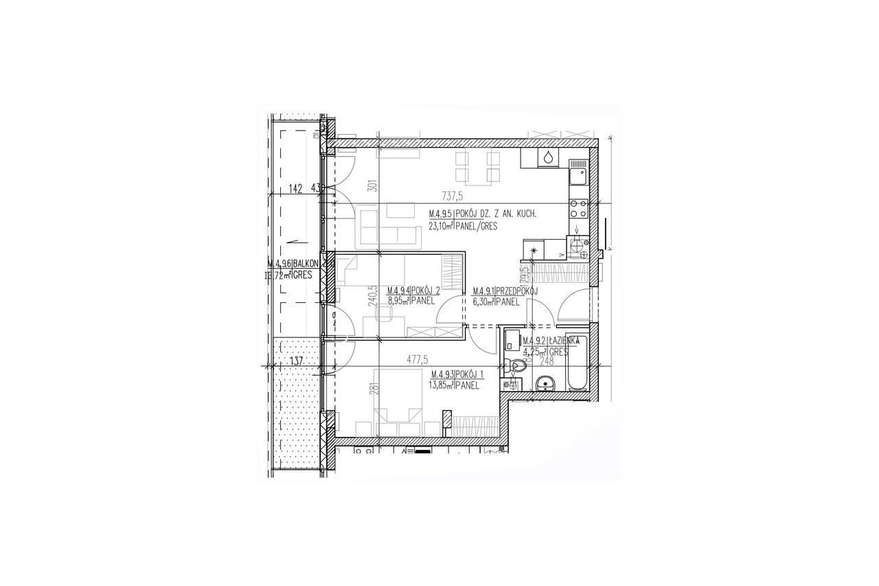 Mieszkanie B9 41 na trzecim piętrze