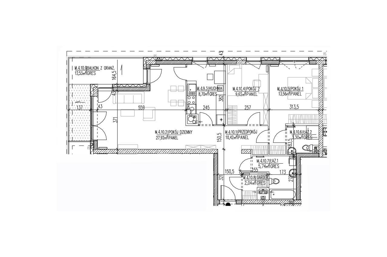 Mieszkanie B9 42 na trzecim piętrze