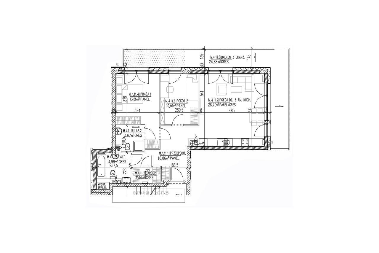 Mieszkanie B9 43 na trzecim piętrze