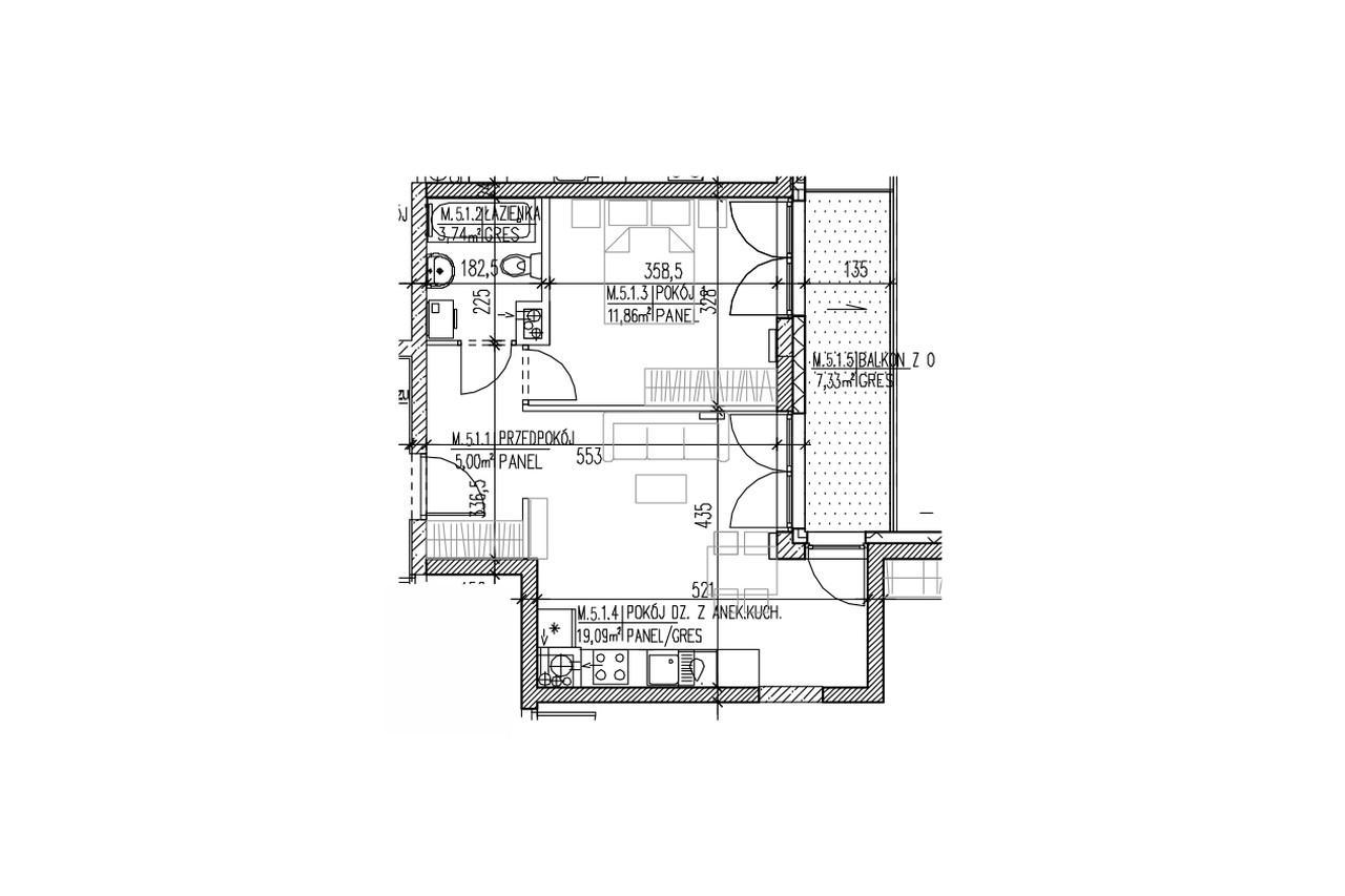 Mieszkanie B9 44 na czwartym piętrze