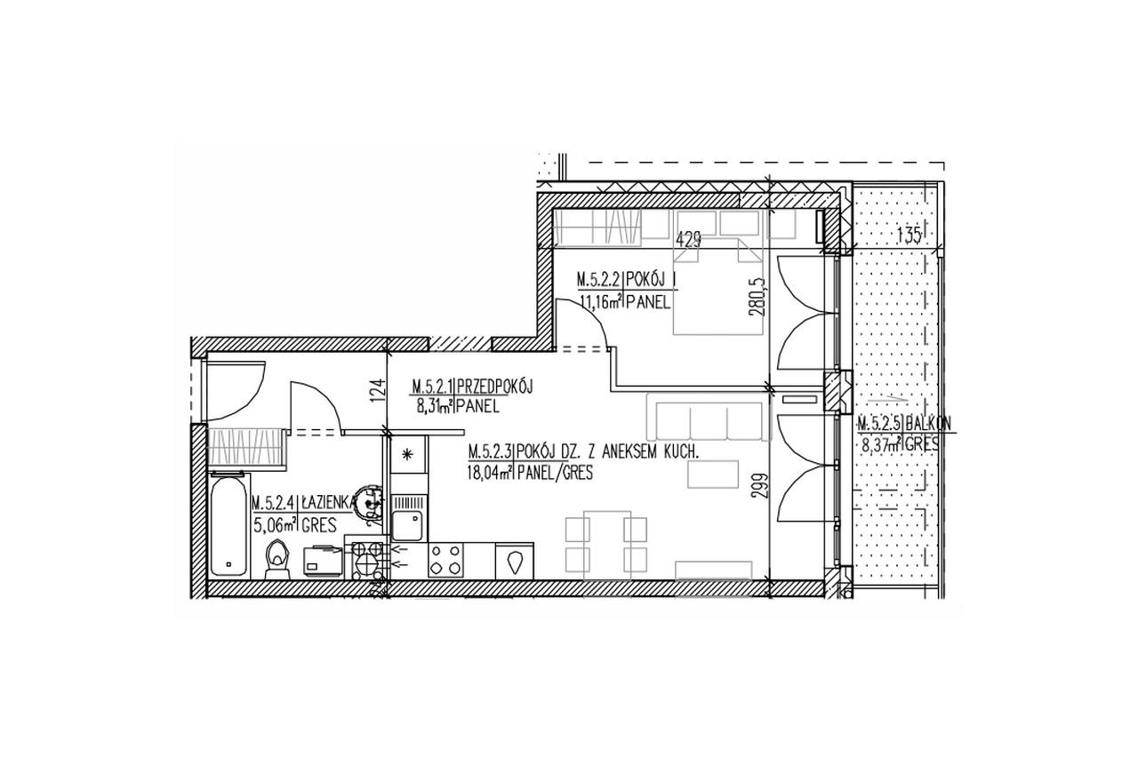 Mieszkanie B9 45 na czwartym piętrze
