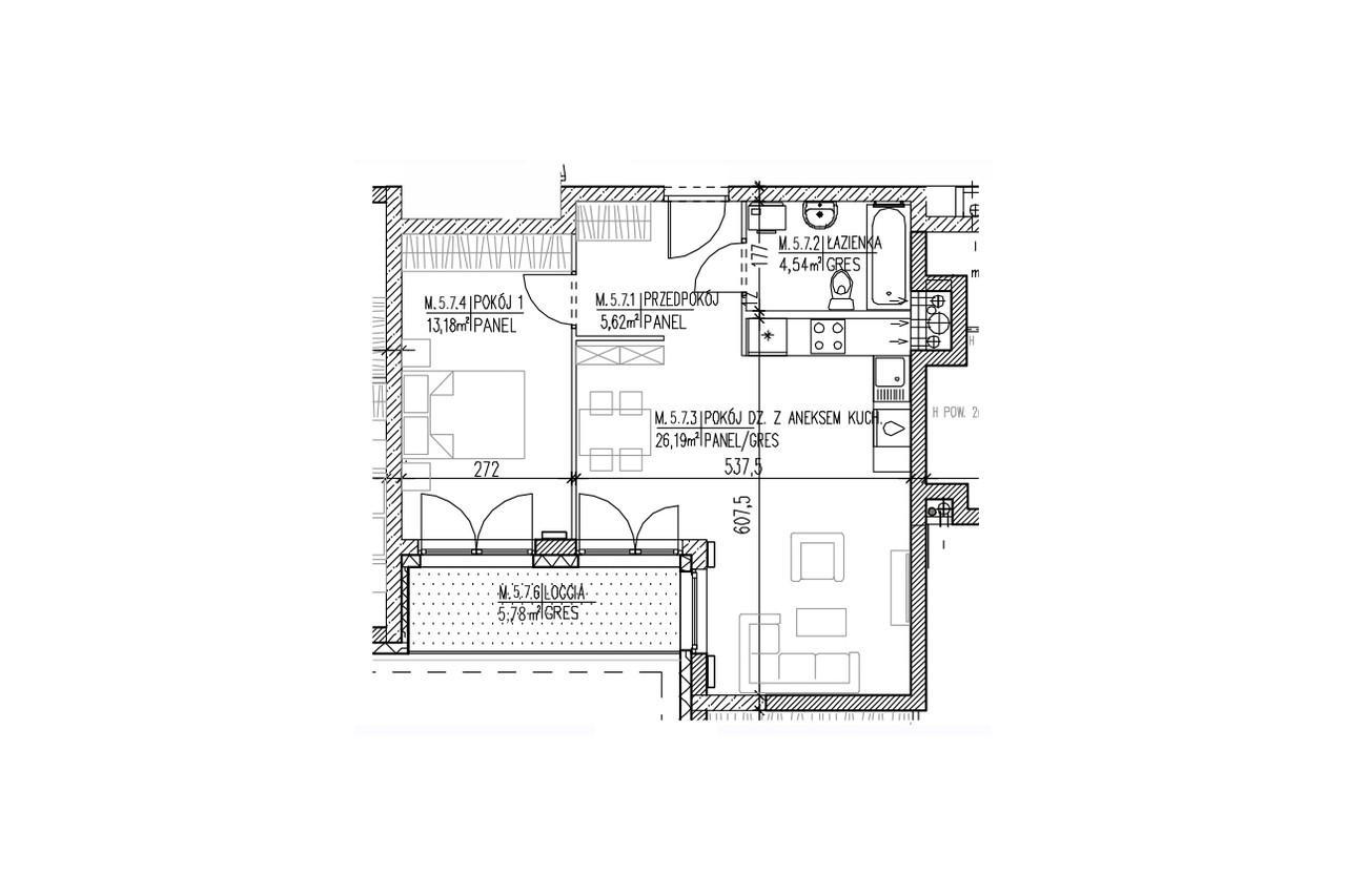 Mieszkanie B9 50 na czwartym piętrze