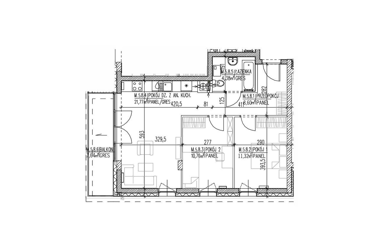 Mieszkanie B9 51 na czwartym piętrze