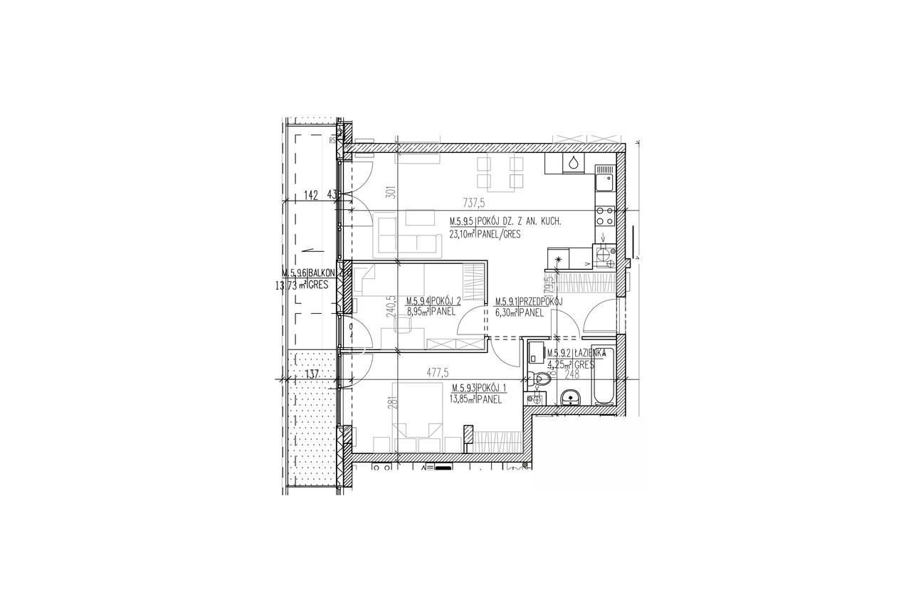 Mieszkanie B9 52 na czwartym piętrze