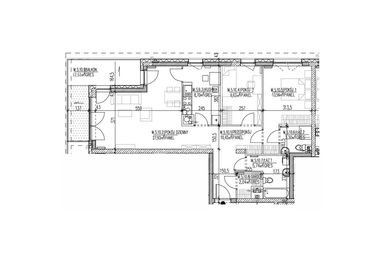 Mieszkanie B9 53 na czwartym piętrze