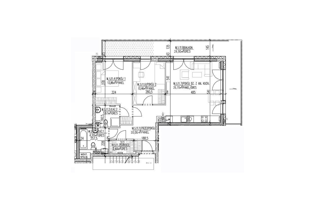 Mieszkanie B9 54 na czwartym piętrze